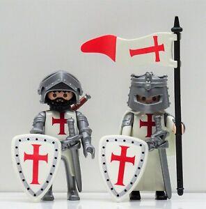 2 TEMPELRITTER RITTER B PLAYMOBIL > Rock Templer Kreuzritter Crusader CUSTOM RAR