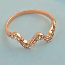 14K Rose Gold Filled Womens cz Cute Wave Stackable Wedding LOVE Ring Size 5.5