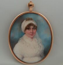SUPERB GEORGIAN MINIATURE PORTRAIT- Mrs Pagan by A Gallaway C1795 - provenance