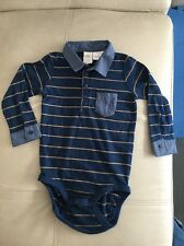 New H&M Boy Top Baby Shirt Blue Stripped Size 12-18M Long Sleeve
