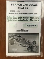 D237 WATER SLIDE SILK SCREENED 1/43 SCALE DECAL FOR THE MCLAREN M23 VILLENEUVE