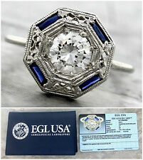 Ladies Antique Art Deco 14K White Gold 0.62ct Diamond Sapphire Engagement Ring