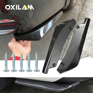 2* Car Rear Bumper Lip Diffuser Splitter Canard Protector Carbon Fiber Universal