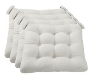 """Mainstays 4-Piece Set 16"""" Textured Chair Seat Pad Chair Cushion Silver Color"""
