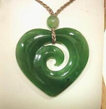 33mm Maori Hei-Manawa Heart With Koru Element Premium Nephrite Jade Pendant #1