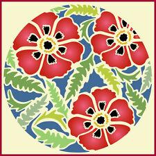 FLOWER CIRCLE 6 - POPPIES - POPPY - BOTANICAL - The Artful Stencil