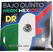 DR Strings BQMX-10 Neon Mexico Bajo Quinto guitar Strings Neon Green ,White, Red