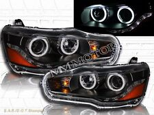 2008-2011 MITSUBISHI LANCER/EVO X CCFL TWIN HALO LED PROJECTOR HEADLIGHTS BLACK