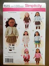 """New Simplicity Pattern 1515  For American Girl Doll Or Any 18"""" Doll"""