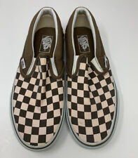VANS Low Pink Brown Slip On Checkered Sneakers Shoes Women's Size 9 Mens 7.5