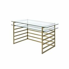 Acme Shona Desk in Antique Gold and Clear Glass