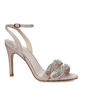Faith Pink Glitter 'Dash' High Stiletto Heel Ankle Strap Sandals Shoes Uk4 Eur37