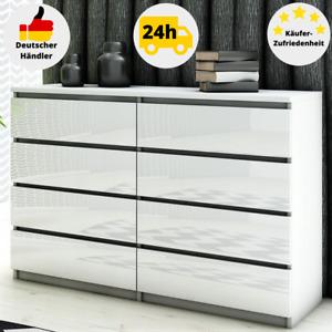 Kommode Weiß Hochglanz 8 Schubladen Sideboard 120 Schrank Kleiderschrank Modern