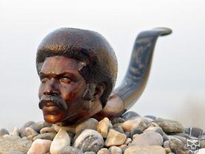 Briar Wood Portrait Tobacco Pipe Bust of Black Dynamite by Oguz Simsek