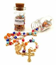 Multicolor Catholic Rosary Beads Necklace with Cross Holy Land Gift in Bottle