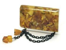 Old Vintage Amber BROOCH Antique Pressed Natural Baltic Amber Beads 15,7g 10009