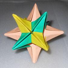 Handmade Origami 12 Sided Star Orange Green Yellow Yasutomo Japanese Paper