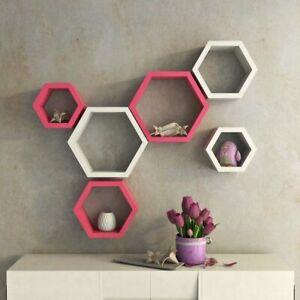 Hexagon Shape Storage Wall Shelves Set Of 6 /Home Decor / Pink & White /Gift