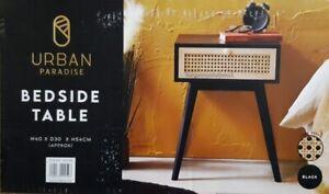 Urban Paradise Bedside Table Vintage Cane Side Table Cabinet Lamp Table - Black