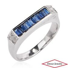 Estate Diamond 0.76ct Sapphire 18K White Gold Fancy Band Ring NR
