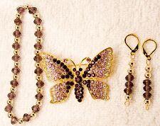 jewelry set bracelet earrings pin brooch purple butterfly crystal gold tone