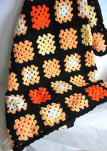 New HARVEST Multi Color AFGHAN Throw 43x60 Acrylic Hand Crocheted Granny FREE SH