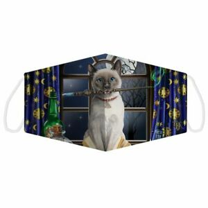 Lisa Parker Hocus Pocus Siamese Cat Face Covering Mask Adult Reusable Dble Layer