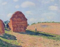 Haystacks Alfred Sisley Landscape Fine Art Print on CANVAS Giclee Repro Small