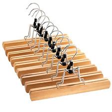High-Grade Wooden Pants Hangers with Clips Non Slip Slack Skirt Hangers, 10 Pack