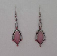 VICTORIAN STYLE pink NAVETTE GLASS DARK SILVER PLATED DROP EARRINGS HOOK