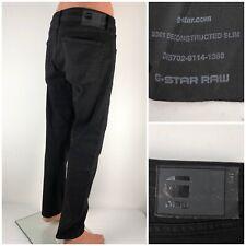 G Star Mens 36 X 30 Jeans 3301 Deconstructed Slim Black Cotton Blend Stretch