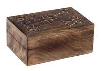 Beautiful Handmade Wooden Wood Jewelry Box with Cross Christian Rosary Keepsake