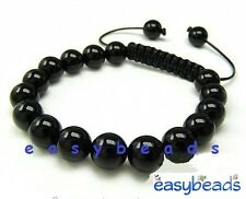 Men's Shamballa bracelet  all 10mm BLACK GLASS beads