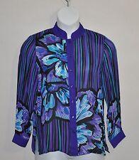 Bob Mackie Romantic Poppy Silk Blouse Size S Purple Multi