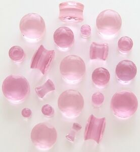 1-PAIR Pink Crystal Faceted Cut Double Flare Saddle Ear Plugs Lightweight Glass