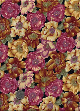 """Picadilly"" Floral Print rose gold blue & russet on black Fabric by Free Spirit"
