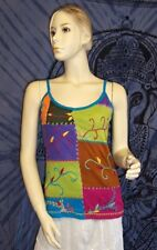 NEW GRINGO FAIR TRADE HIPPY BOHO ETHNIC FESTIVAL SUMMER STRAPPY VEST TOP M