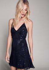 NEW Free People Special Edition Black Sparklette Mini Dress Sequin $250 Sz 6