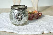 Clayre & Eef Windlicht Teelichtglas Kerze Bauernsilber Shabby Vintage Landhaus