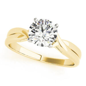 1.2CT Natural Moissanite 14K Yellow Gold Twisted Shank Solitaire Engagement Ring