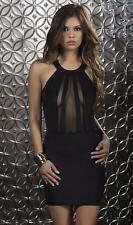 Halter Dress Mesh Inserts Bodycon Cosmopolitan New Year's Eve 883909 Large