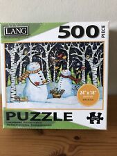 Lang  500 Piece Jisaw Puzzle Birch & Snowmen New & Factory Sealed