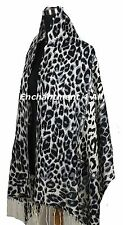 Large Stunning 2-Ply 100% Cashmere Pashmina LEOPARD Shawl Wrap Scarf, Black/Gray