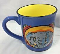 Vintage Elephant Coffee Tea Mug Cup Grey Blue 3D Rare Style Free Shipping VTG