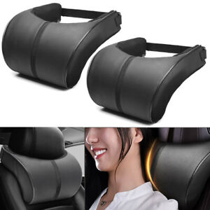 2pcs Universal Memory Cotton PU Car Seat Headrest Pillow Head Neck Rest Cushion