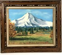 Vintage 1976 Mt Hood Oregon Oil Painting Canvas Framed Signed Rustic Cabin Lodge