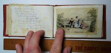 RARE Early Hand Tinted Stone Lithograph Print Children Autograph Album 1840s