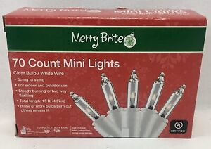 70 Count Mini Christmas Lights Clear Bulbs w/ White Wire 15 ft New Boxed