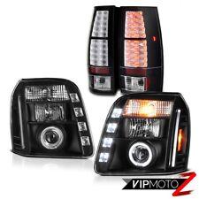 07-14 GMC Yukon XL Denali Matte Black Tail Brake Lights Headlights LED Dual Halo