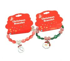 2 x Christmas Theme Beaded Charm Elasticated Bracelets Red/Green - Snowman/Santa